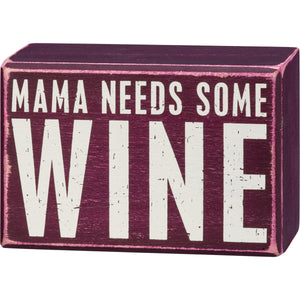 Mama Needs Some Wine Socks & Box Sign Gift Set