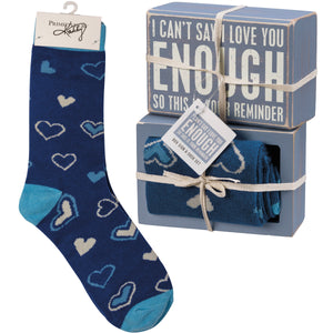 Can't Say I Love You Enough Socks & Box Sign Gift Set