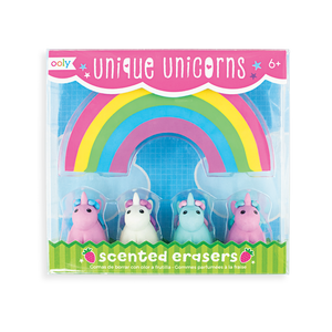Unique Unicorns Strawberry-Scented Pencil Erasers Set