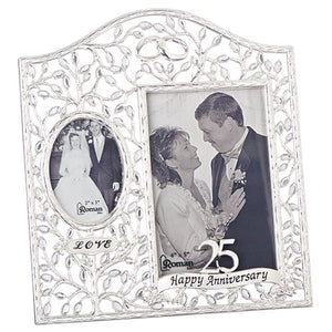25th Wedding Anniversary Love Scroll Porcelain Photo Frame