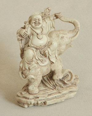 Happy Buddha and Elephant Statue