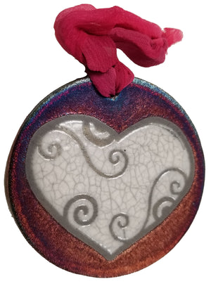 Blessed Heart Silhouette Medallion Ornament from Raku Pottery