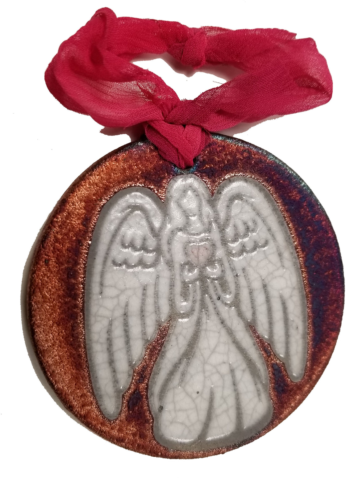 Angel with Heart Silhouette Medallion Ornament from Raku Pottery