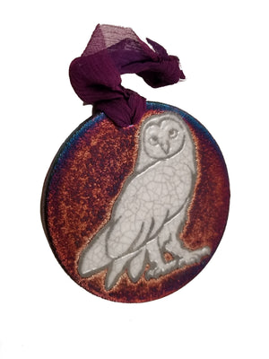 Owl Silhouette Medallion Ornament from Raku Pottery