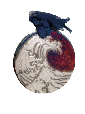 Ocean Waves Silhouette Medallion Ornament from Raku Pottery
