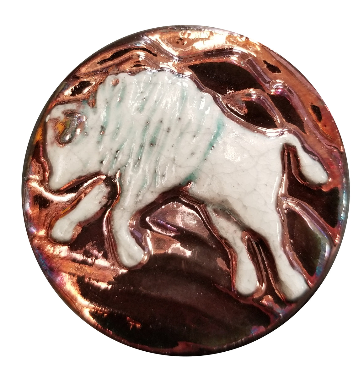 Bison Medallion Magnet from Raku Pottery