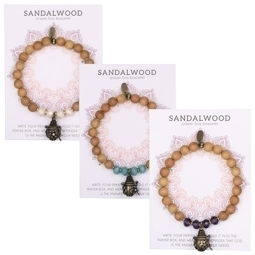 Sandalwood Prayer Box Bracelet ~ Assorted Colors Available
