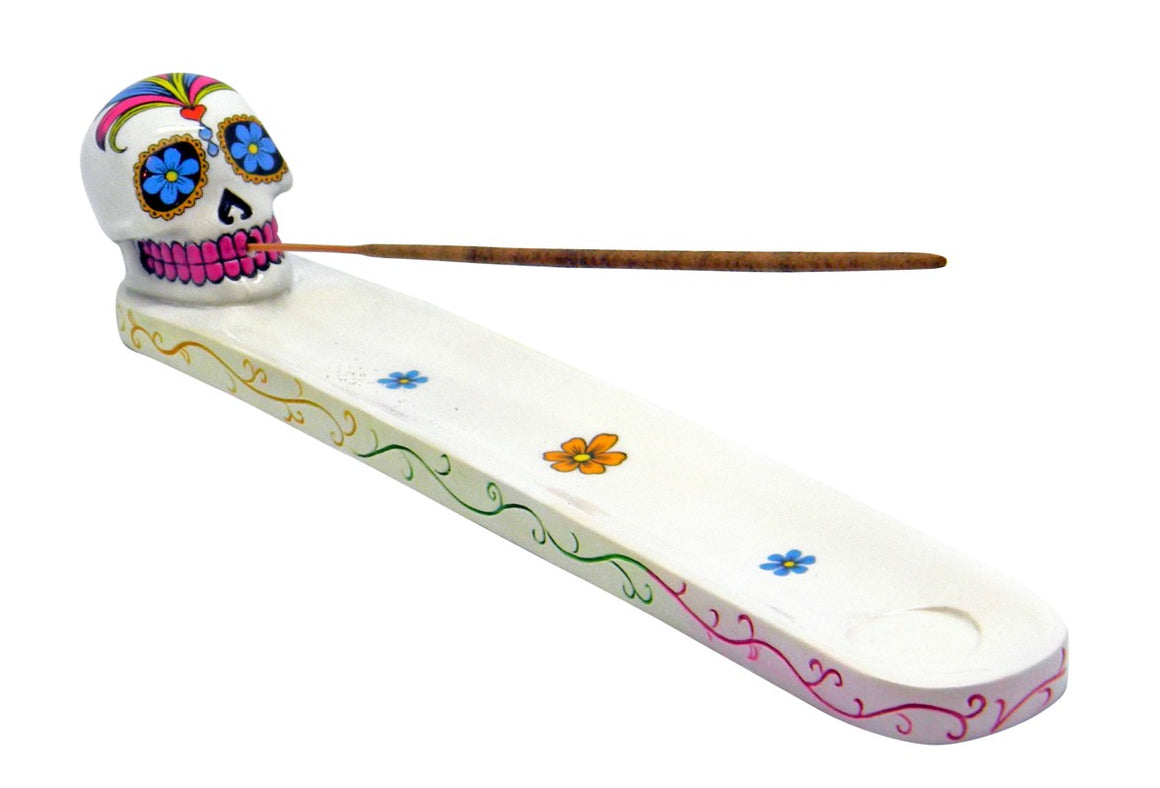 White Day of the Dead Sugar Skull Incense Burner