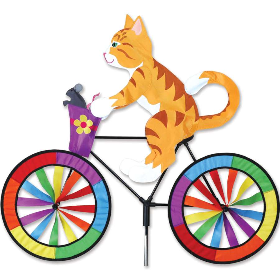 "Kitty Cat Bicycle Wind Spinner (30"") with Mouse in Basket"