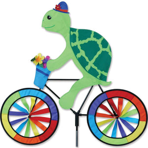 "Turtle Bicycle Wind Spinner (30"") with Flowers in Basket"