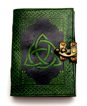 Black/Green Triquetra Leather Embossed Journal