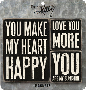 You Make My Heart Happy & Love ~ Magnet Set