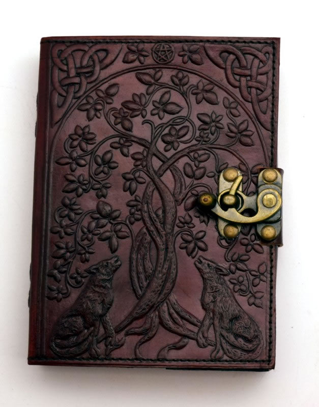 Wolves with Tree of Life Leather Embossed Journal