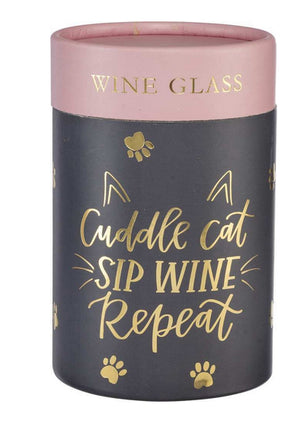 Cuddle Cat - Sip Wine - Repeat ~ Stemless Wine Glass