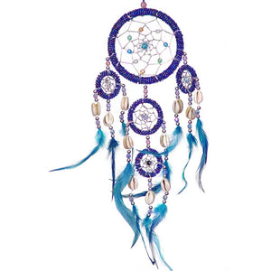 Blue Feathers Iridescent Blue Beaded Dreamcatcher