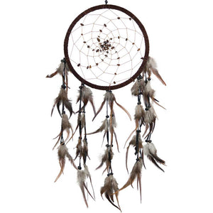 Tiger Eye Beads Spiral Web Brown Dreamcatcher