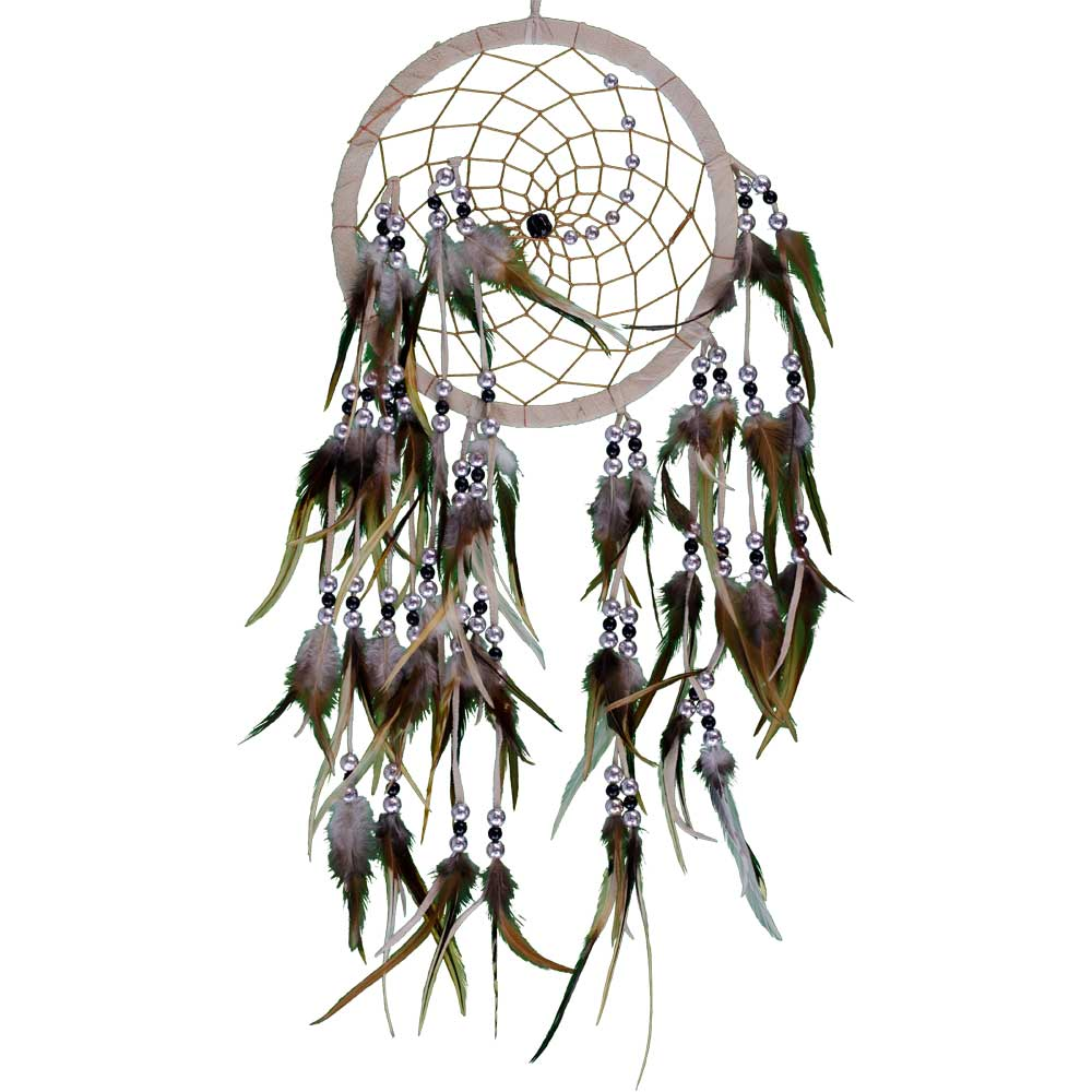 Wood Whisper Silver & Black Beads Natural Dreamcatcher
