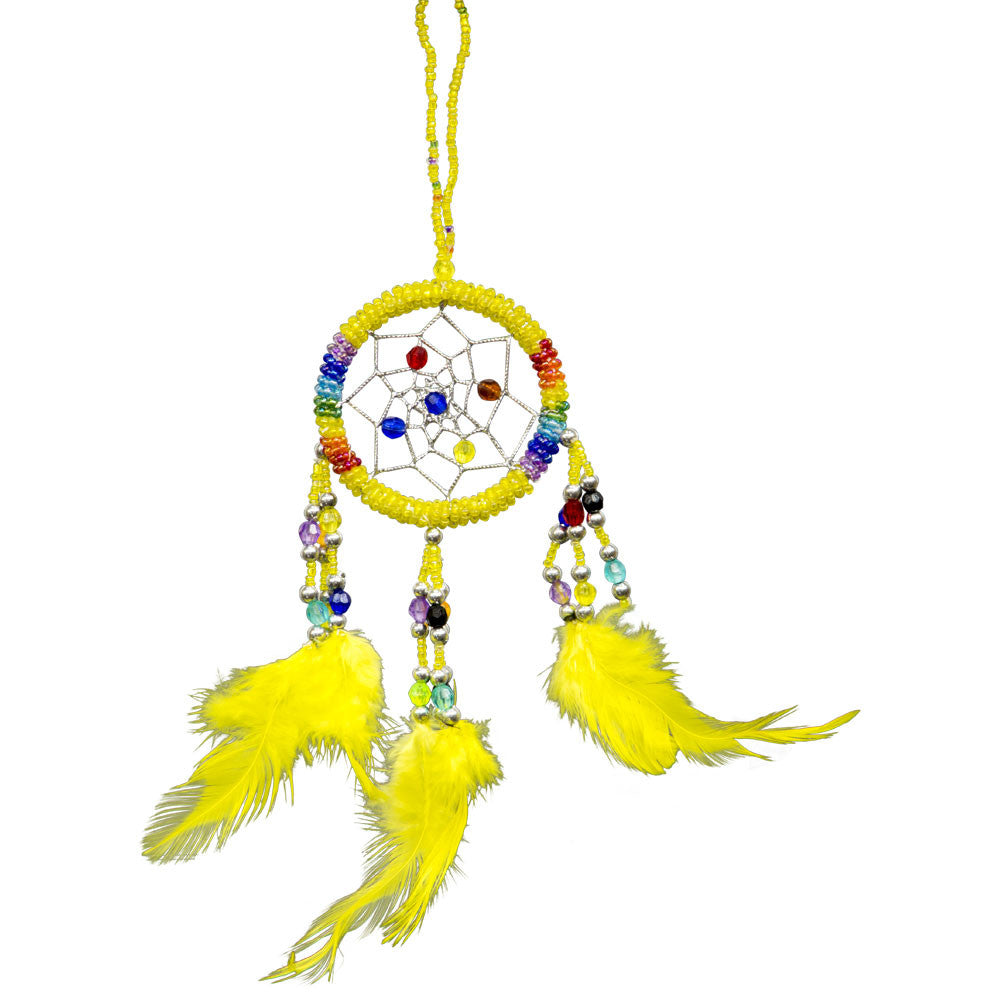 Yellow Chakra Beaded Dreamcatcher