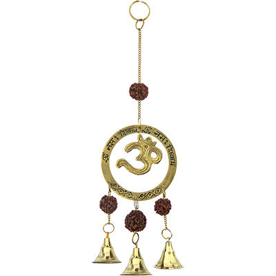 Om Brass Bell Chime with Rudraksha Beads