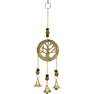 Tree of Life Brass Bell Chime with Rudrakshas
