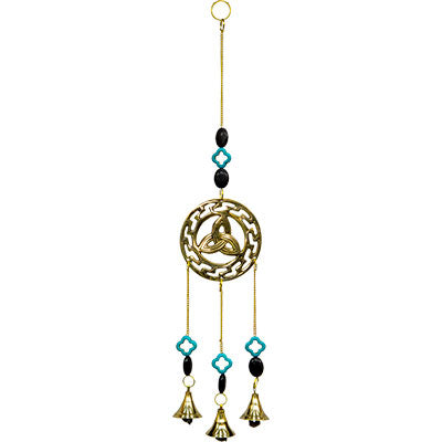 Triquetra with Howlite Accents Brass Bell Chime