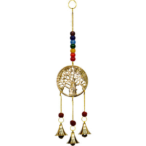 Tree of Life Brass Bell Chime with Chakras