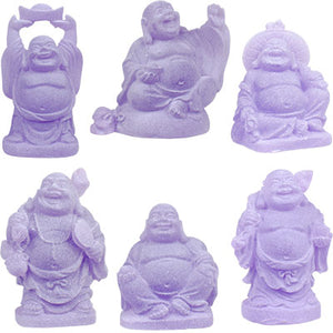 "2"" Purple Buddha Figurines (Safe Travels, Prosperity, Love, Spiritual Journey, Happy Home, and Long Life)"