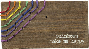 Rainbows Make Me Happy - Stitched Block Magnet
