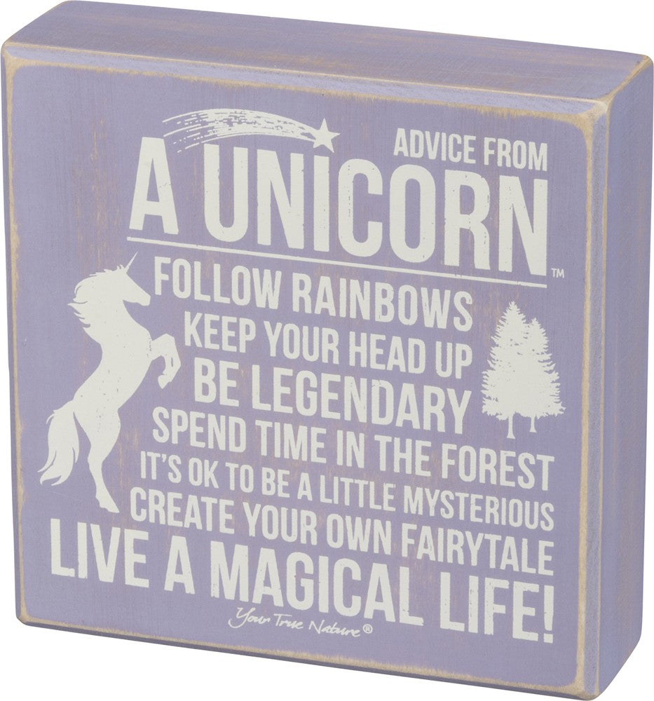Advice From A Unicorn ~ Lavender Box Sign