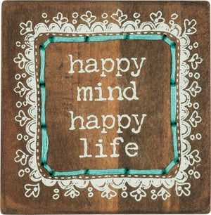 Happy Mind Happy Life - Stitched Block Magnet