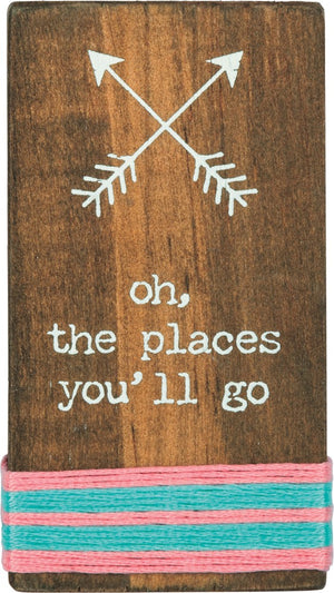 Oh, the Places You'll Go - Stitched Block Magnet