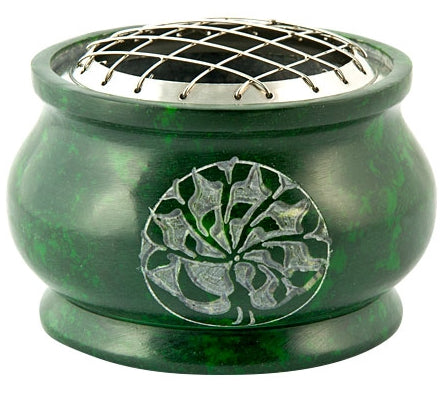 Tree of Life Carved Natural Stone Screen Charcoal Incense Burner