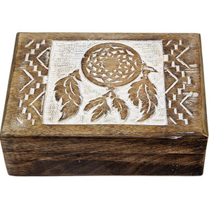 Carved Mango Wood Box ~ Dreamcatcher