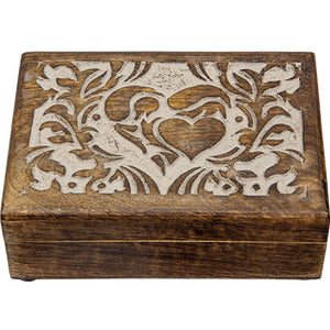 Carved Mango Wood Box ~ Heart
