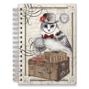 "Traveling Owl with Gold Foil Accents Spiral Journal (6""x8.5"")"