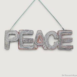"Inspiring News ""PEACE"" Wall Art Handcrafted in Vietnam"