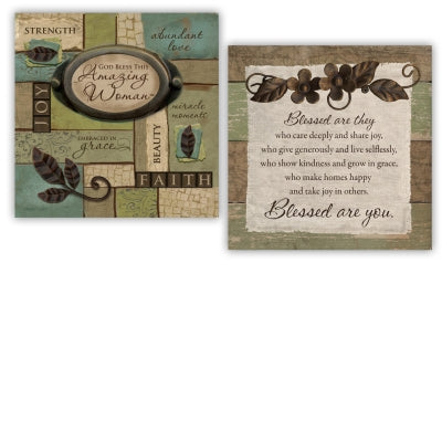 Amazing Woman ~ Blessed Inspirational 2-Side Block Box Sign