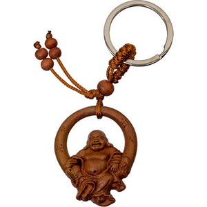 Happy Hotei Buddha Wood Keychain