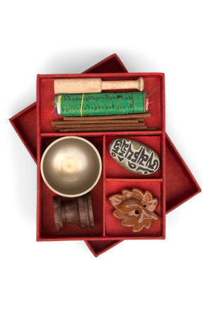 Complete Meditation & Relaxation Gift Set with Singing Bowl, Flags, Incense, Mantra Rock Handcrafted in Nepal