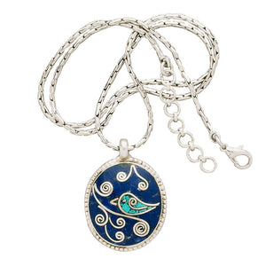 Mosaic Bird Turquoise and Lapis Pendant Necklace Handcrafted in Nepal