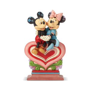 Mickey and Minnie Sitting on Heart by Jim Shore Disney Traditions