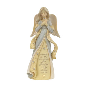 Mini Guardian Angel Crystal Stone Resin Figurine from the Foundations Collection