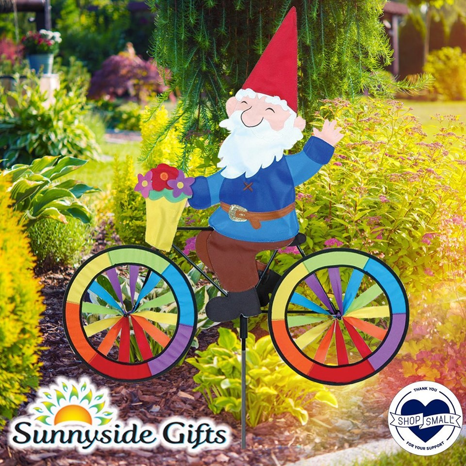 "Garden Gnome Bicycle Wind Spinner (30"") with Flowers in Basket"
