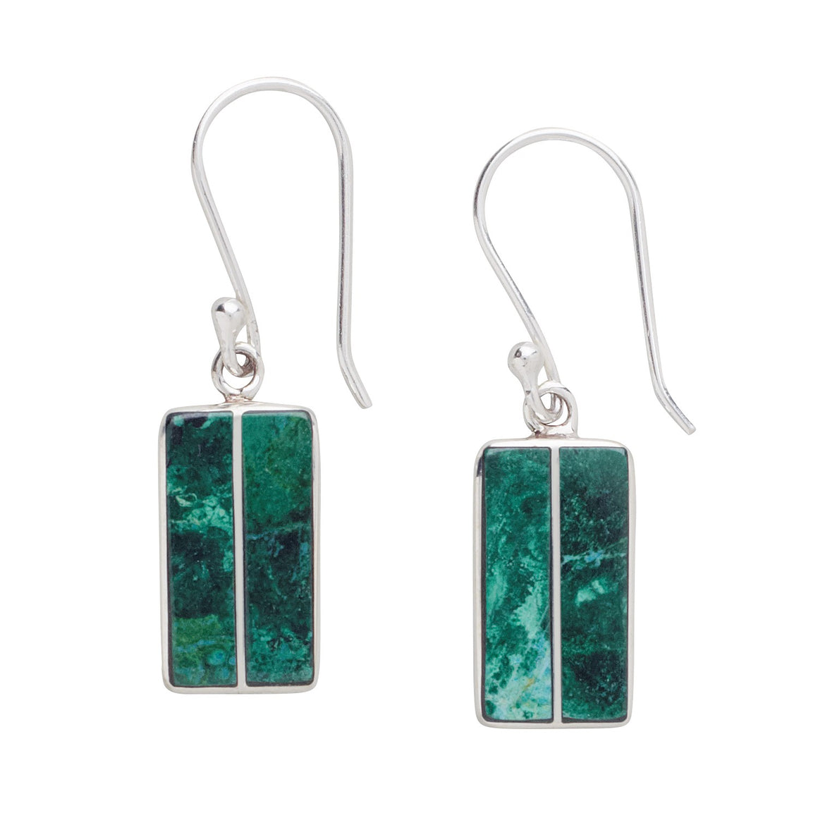 Stone Temple Turquoise Sterling Silver Earrings