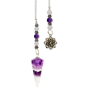 Hexagonal Chevron Amethyst Pendulum with Lotus