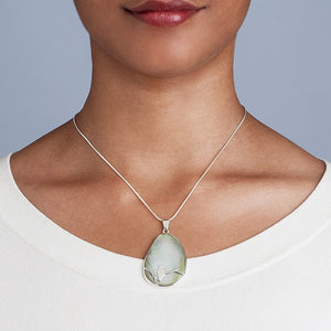 Moon Song Mother of Pearl Sterling Silver Necklace Handcrafted in Peru