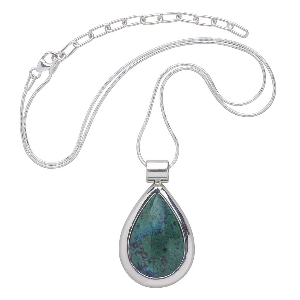 Turquoise Teardrop Sterling Silver Necklace