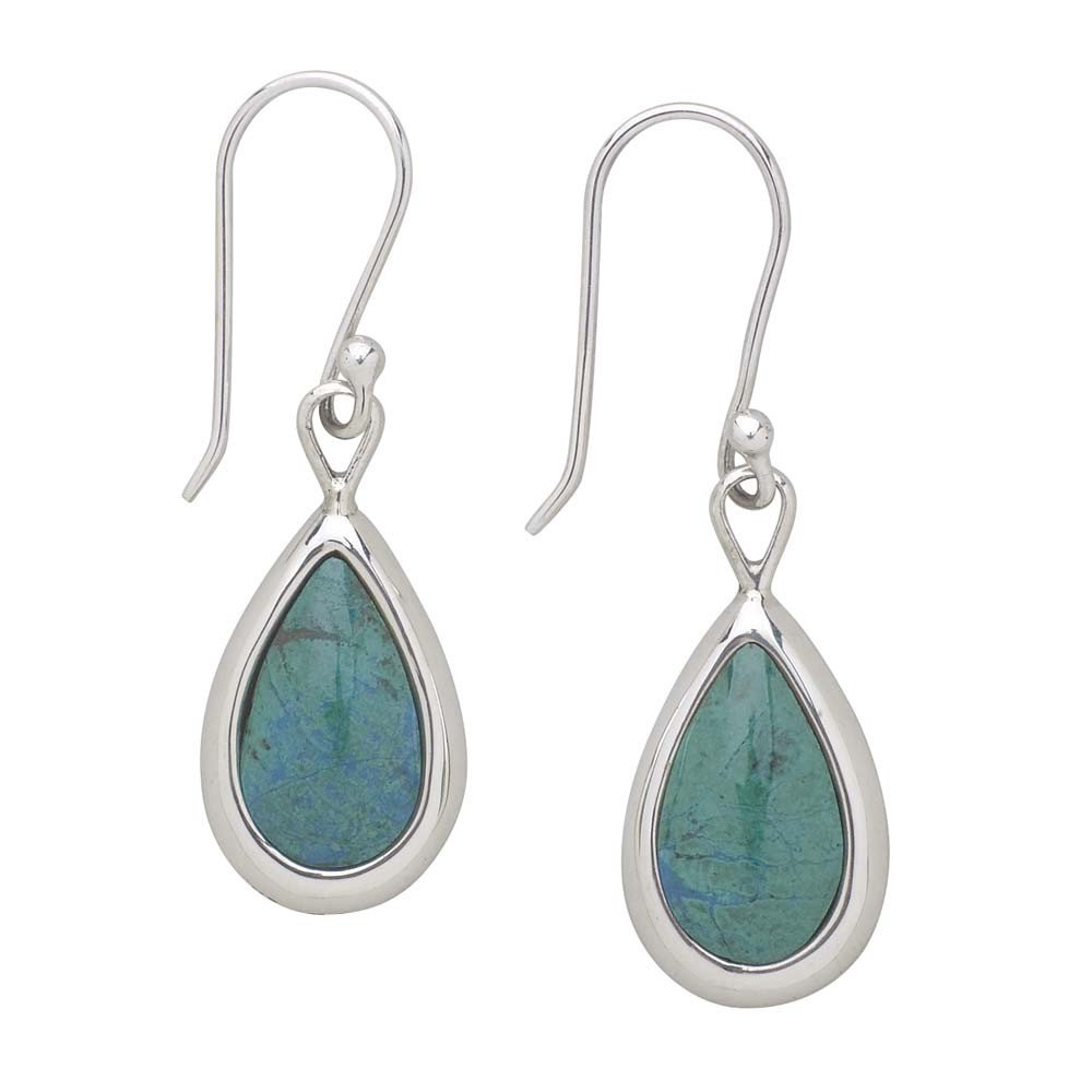 Turquoise Teardrop Sterling Silver Earrings