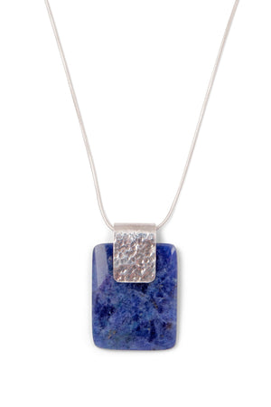 Open Window Sodalite Sterling Silver Necklace Handcrafted in Peru