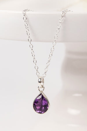 Amethyst Teardrop Sterling Silver Necklace Handcrafted in Peru